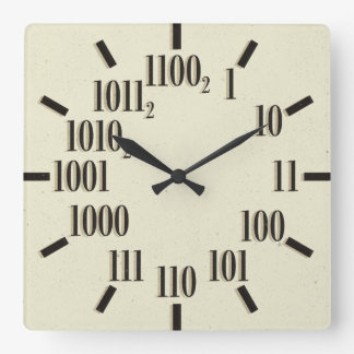 Binary Wall Clock, Square Square Wall Clock