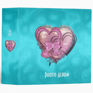 Binder Bright Blue Pink Hearts Photo Album