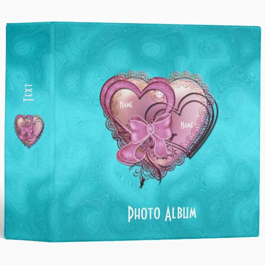 Binder Bright Blue Pink Hearts Photo Album