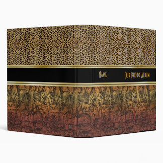 Binder Photo Album Gold Old Paper Leopard Look