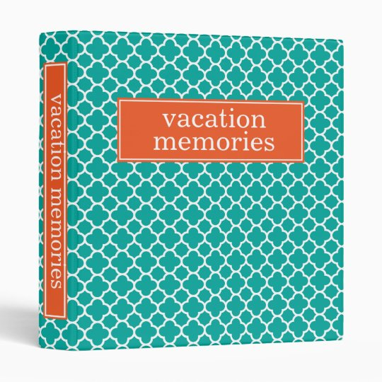 Binder | Turquoise and Orange Quatrefoil