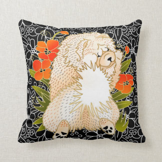 BINDI MINGSIE -cream chow pillow-right/left facing Throw Pillow