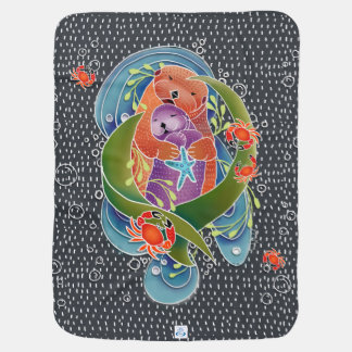 BINDI Sea Otters baby blanket - custom background