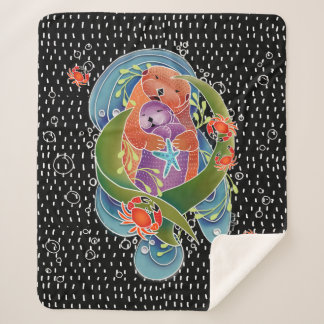 BINDI Sea Otters sherpa backed fleece blanket