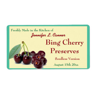 Bing Cherry Jam or Preserves II Canning Jar Shipping Label