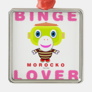 Binge Lover-Cute Monkey-Morocko Metal Ornament