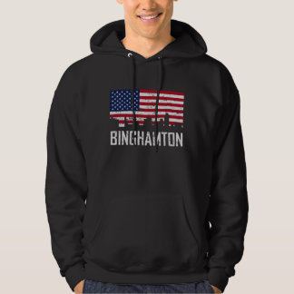 Binghamton New York Skyline American Flag Distress Hoodie