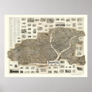 Binghamton, NY Panoramic Map - 1901 Poster