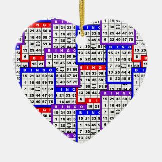 Bingo Cards pattern Ceramic Ornament
