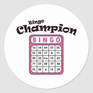 Bingo Champion Classic Round Sticker