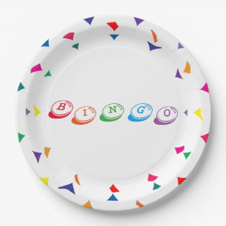 BINGO Colorful Lettering 9 Inch Paper Plate