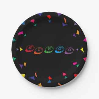 BINGO Colorful Lettering on Black Background Paper Plate