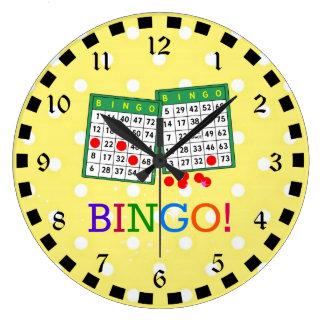 Bingo! Green and White Bingo Cards on Yellow Wallclocks