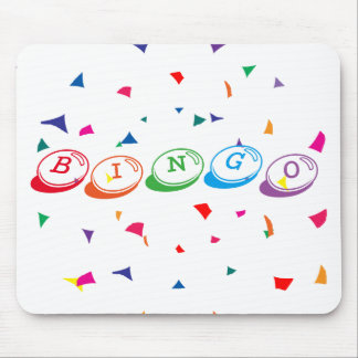 BINGO in Colorful Lettering on White Mouse Pad