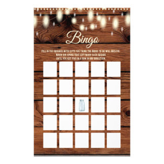 Bingo Rustic Country Western Bridal Shower Game Flyer