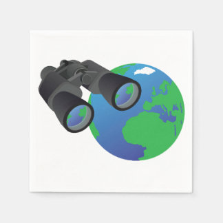 Binoculars And Earth Paper Napkins