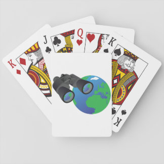 Binoculars And Earth Playing Cards