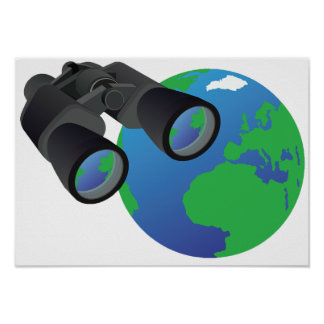 Binoculars And Earth Poster