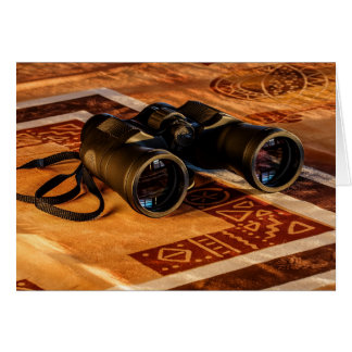 Binoculars on Egyptian-Style Rug, Explorer, Travel Card