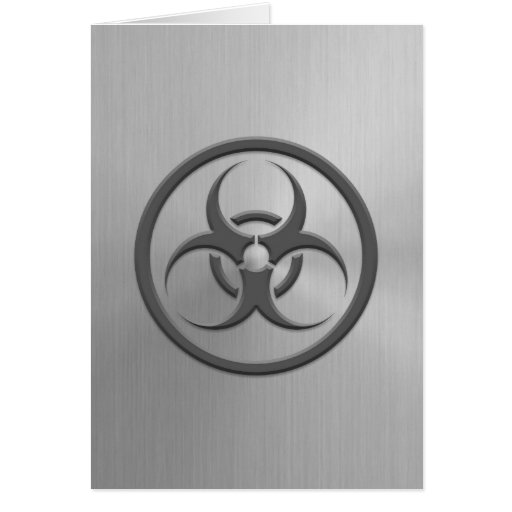 Bio Hazard Circle with Stainless Steel Effect Greeting Cards