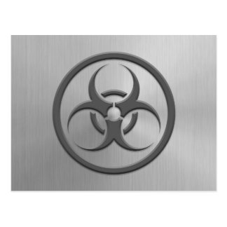 Bio Hazard Circle with Stainless Steel Effect Postcards
