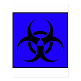 Bio Hazard or Biohazard Sign Symbol Warning Blue Post Card