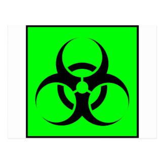 Bio Hazard or Biohazard Sign Symbol Warning Green Post Cards