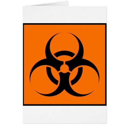 Bio Hazard or Biohazard Sign Symbol Warning Orange Cards