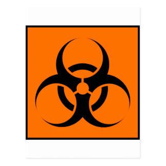 Bio Hazard or Biohazard Sign Symbol Warning Orange Post Cards