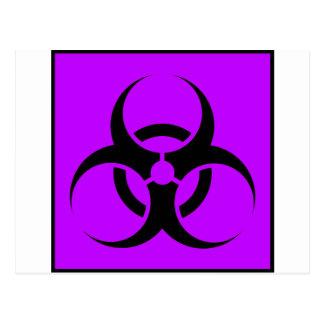 Bio Hazard or Biohazard Sign Symbol Warning Purple Post Card