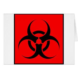 Bio Hazard or Biohazard Sign Symbol Warning Red Greeting Card