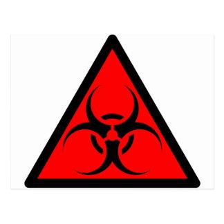 Bio Hazard or Biohazard Sign Symbol Warning Red Postcards