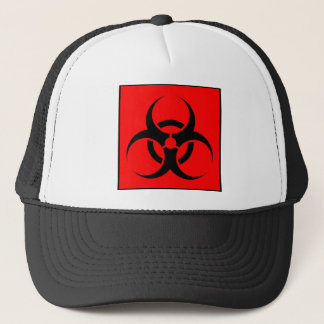 Bio Hazard or Biohazard Sign Symbol Warning Red Trucker Hat