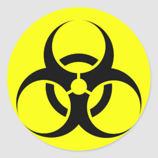 Bio Hazard or Biohazard Sign Symbol Warning Yellow Classic Round Sticker