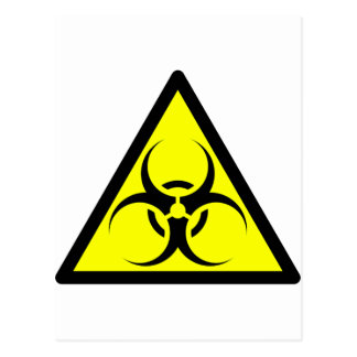 Bio Hazard or Biohazard Sign Symbol Warning Yellow Postcards