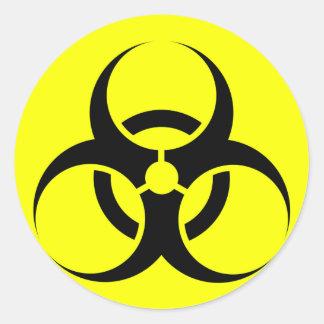 Bio Hazard or Biohazard Sign Symbol Warning Yellow Round Sticker