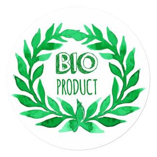 Bio Product Green Watercolor Farm Fresh Food Card