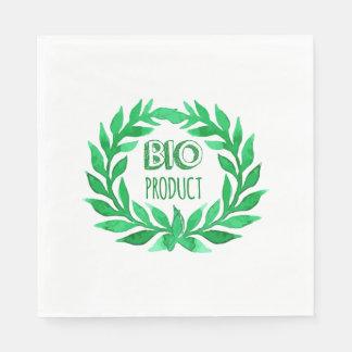 Bio Product Green Watercolor Farm Fresh Food Disposable Napkin