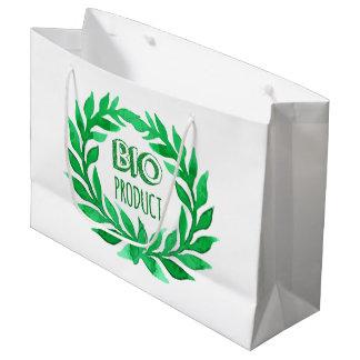 Bio Product Green Watercolor Farm Fresh Food Large Gift Bag