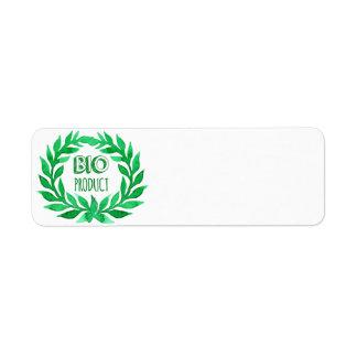 Bio Product Green Watercolor Farm Fresh Food Return Address Label