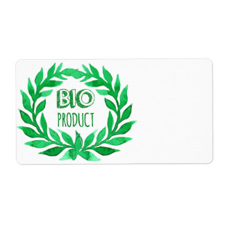 Bio Product Green Watercolor Farm Fresh Food Shipping Label