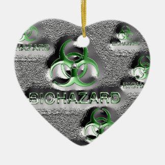 biohazard fallout contamination sign toxic green ceramic heart ornament