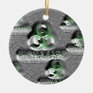 biohazard fallout contamination sign toxic green ceramic ornament