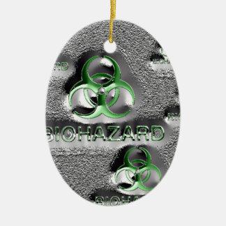 biohazard fallout contamination sign toxic green ceramic oval ornament