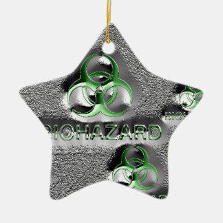 biohazard fallout contamination sign toxic green ceramic star ornament