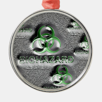biohazard fallout contamination sign toxic green metal ornament