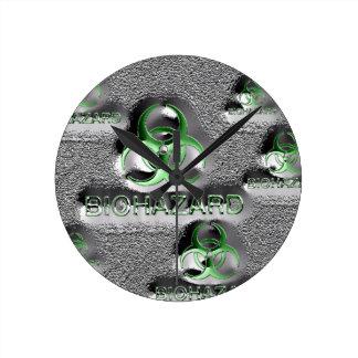 biohazard fallout contamination sign toxic green round clock
