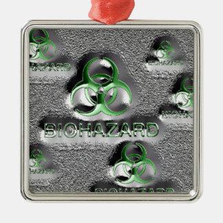 biohazard fallout contamination sign toxic green Silver-Colored square ornament
