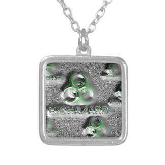 biohazard fallout contamination sign toxic green silver plated necklace
