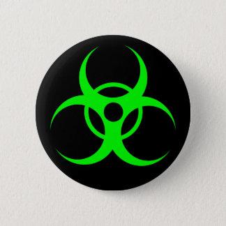 Biohazard Green on Black Button